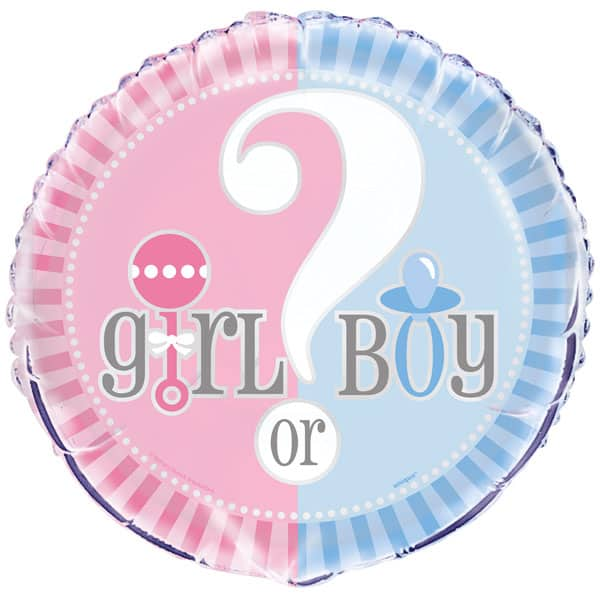 Gender Reveal Theme Round Foil Helium Balloon 46cm / 18Inch