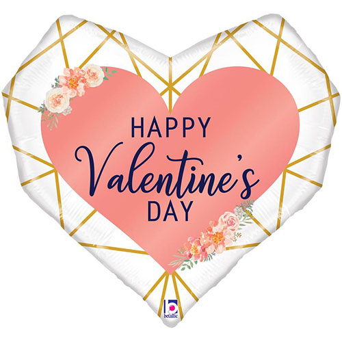 Geo Valentine's Day Holographic Helium Foil Giant Balloon 74cm / 29 in Product Image