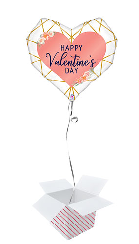Geo Valentine's Day Helium Foil Giant Balloon - Inflated Balloon in a Box Product Image