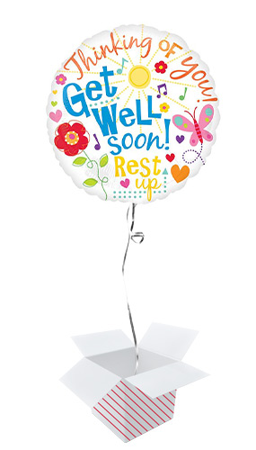 Get Well Messages Round Foil Helium Balloon - Inflated Balloon in a Box
