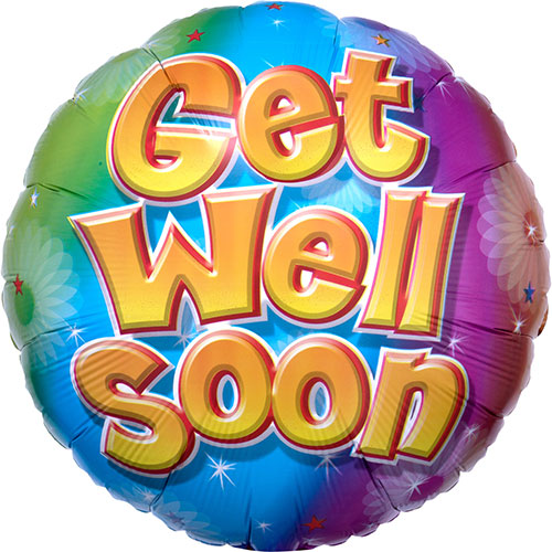 Get Well Soon Colourful Round Foil Helium Balloon 43cm / 17 in