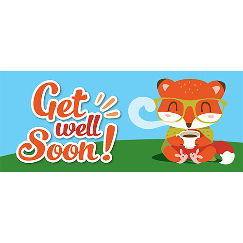 Get Well Soon Cute Fox PVC Party Sign Decoration 60cm x 25cm Product Image