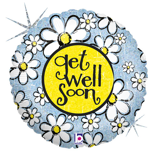 Get Well Soon Daisy Holographic Round Foil Helium Balloon 46cm / 18 in Product Image