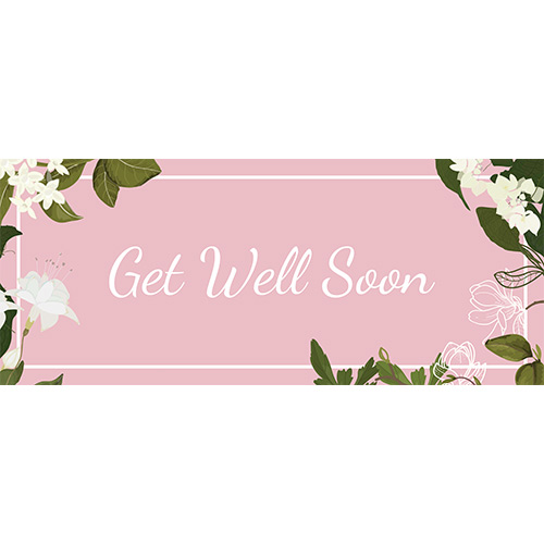 Get Well Soon Flowers PVC Party Sign Decoration 60cm x 25cm Product Image