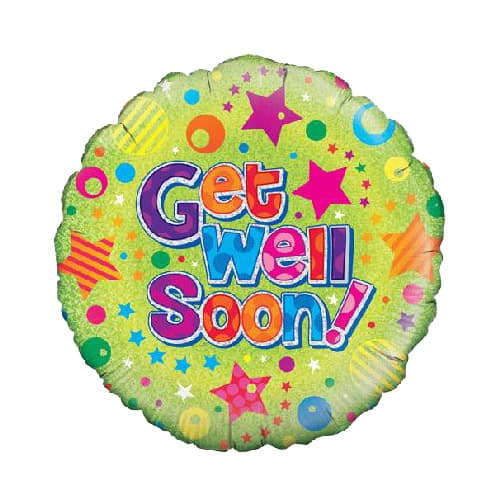 Get Well Soon Holographic Round Foil Helium Balloon 46cm / 18Inch Product Image