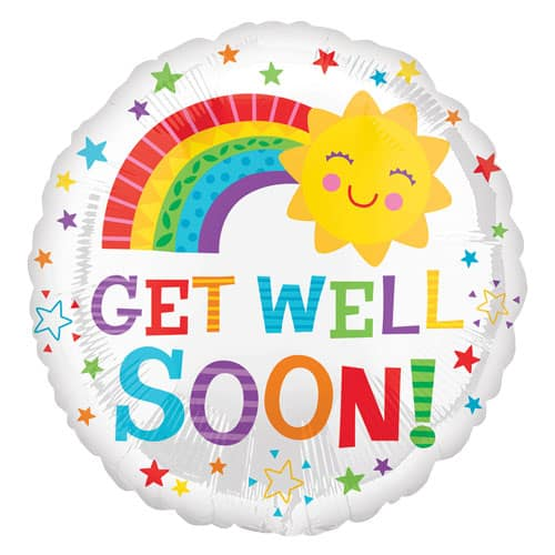 Get Well Soon Sun Round Foil Helium Balloon 43cm / 17Inch Product Image
