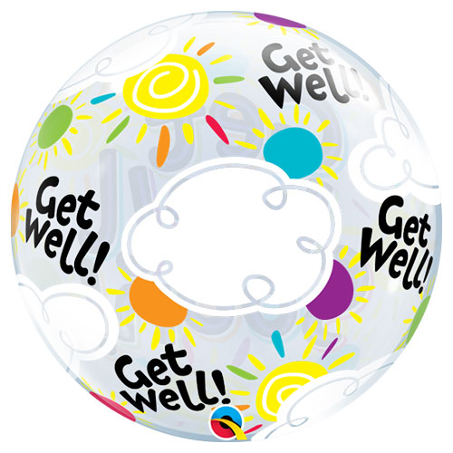 Get Well Soon Sunny Day Bubble Helium Qualatex Balloon 56cm / 22 in Product Gallery Image