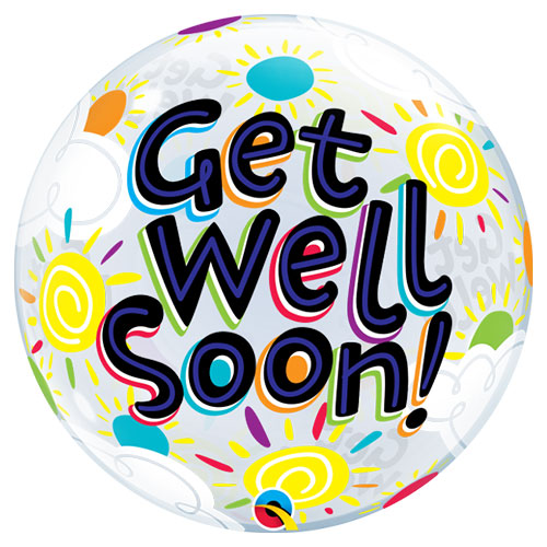 Get Well Soon Sunny Day Bubble Helium Qualatex Balloon 56cm / 22 in Product Image
