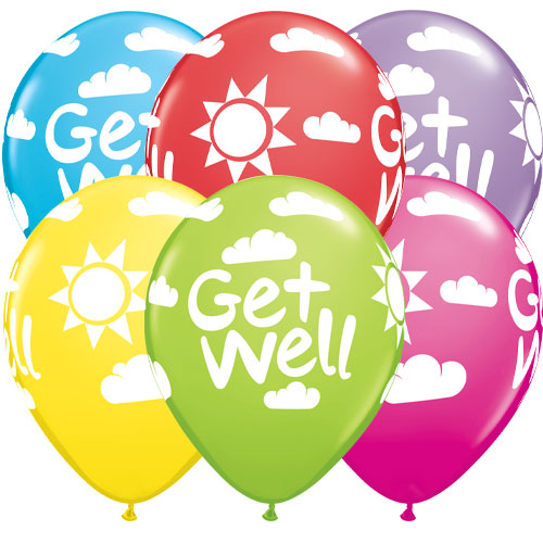 Get Well Sunshine Assorted Latex Helium Qualatex Balloons 28cm / 11 in - Pack of 6 Product Image