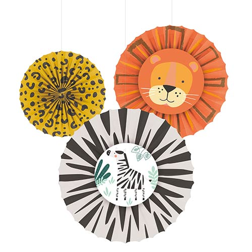 Get Wild Jungle Paper Fans Hanging Decorations - Pack of 3 Product Image