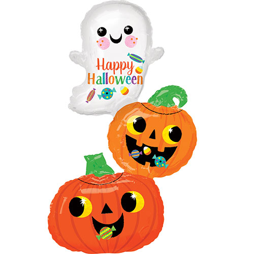 Ghost And Pumpkins Stack Halloween Helium Foil Giant Balloon 93cm / 37 in Product Image