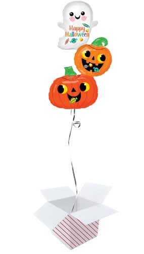 Ghost And Pumpkins Stack Halloween Helium Foil Giant Balloon - Inflated Balloon in a Box Product Image
