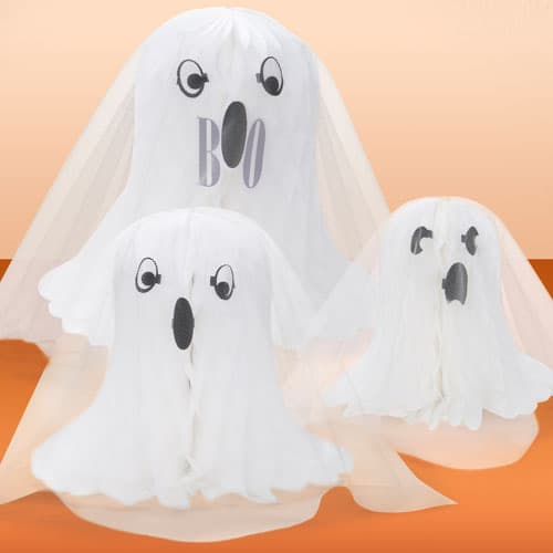 Ghost Shaped Honeycomb Decorations - Pack of 3