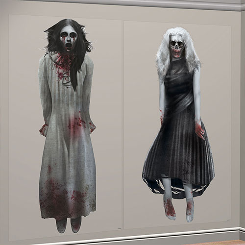 Ghost Girls Halloween Backdrop Scene Setter Add-On Wall Decorations - Pack of 2