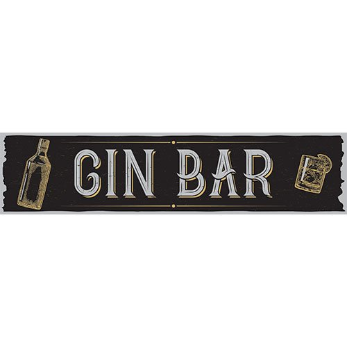 Gin Bar Black PVC Party Sign Decoration 110cm x 26cm