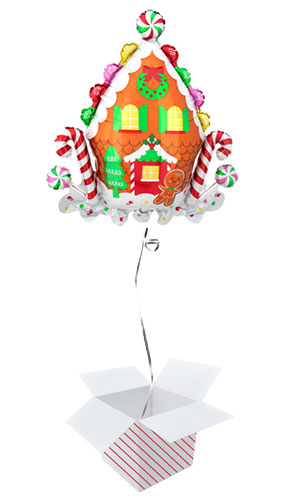 Gingerbread House Christmas Helium Foil Giant Balloon - Inflated Balloon in a Box Product Image