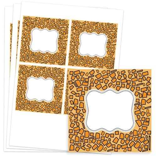 Animals Design 95mm Square Sticker sheet of 4 Product Image