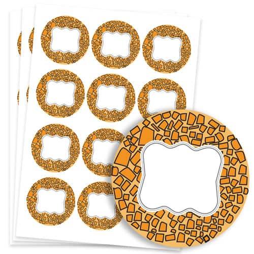 Animals Design 60mm Round Sticker sheet of 12 Product Image