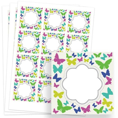 Butterflies Design 65mm Square Sticker sheet of 12 Product Image