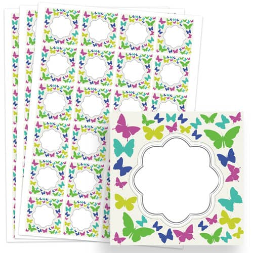 Butterflies Design 40mm Square Sticker sheet of 24 Product Image