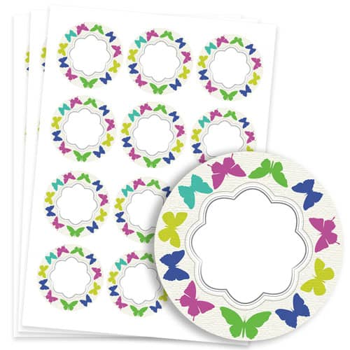 Butterflies Design 60mm Round Sticker sheet of 12 Product Image