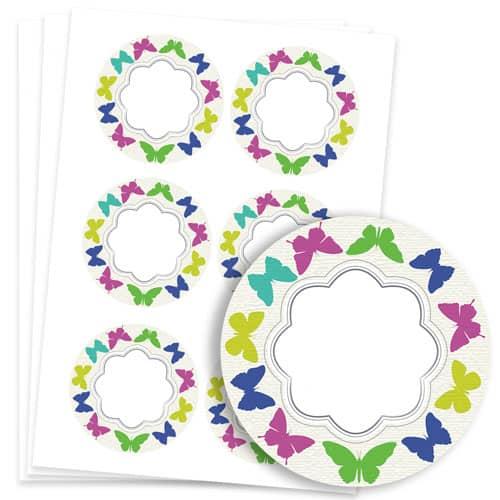 Butterflies Design 95mm Round Sticker sheet of 6 Product Image