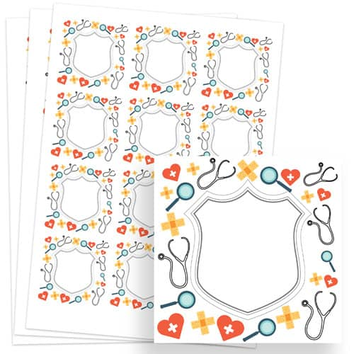 Doctors Design 65mm Square Sticker sheet of 12 Product Image