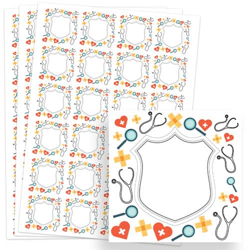 Doctors Design 40mm Square Sticker sheet of 24 Product Image