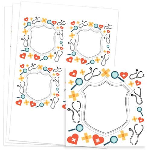Doctors Design 95mm Square Sticker sheet of 4 Product Image