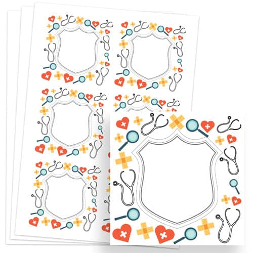 Doctors Design 80mm Square Sticker sheet of 6 Product Image