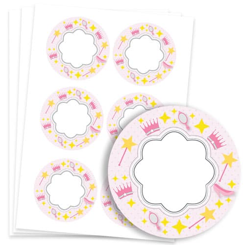 Princess Design 95mm Round Sticker sheet of 6 Product Image