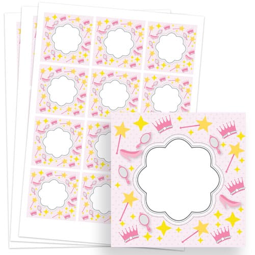 Princess Design 65mm Square Sticker sheet of 12 Product Image