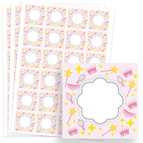 Princess Design 40mm Square Sticker sheet of 24 Product Image
