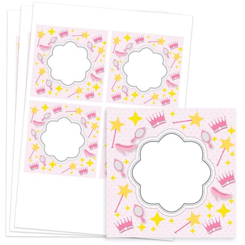 Princess Design 95mm Square Sticker sheet of 4 Product Image