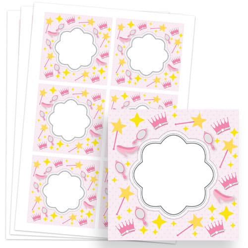 Princess Design 80mm Square Sticker sheet of 6 Product Image