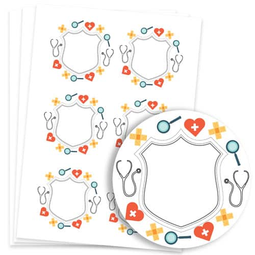 Doctors Design 95mm Round Sticker sheet of 6 Product Image