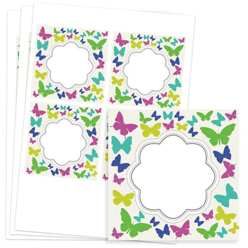 Butterflies Design 95mm Square Sticker sheet of 4 Product Image