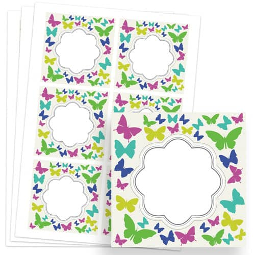 Butterflies Design 80mm Square Sticker sheet of 6 Product Image