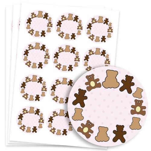 Dollies and Teddy Design 60mm Round Sticker sheet of 12