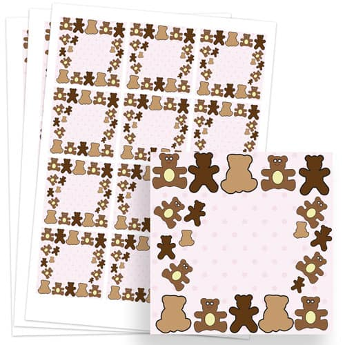 Dollies and Teddy Design 65mm Square Sticker sheet of 12