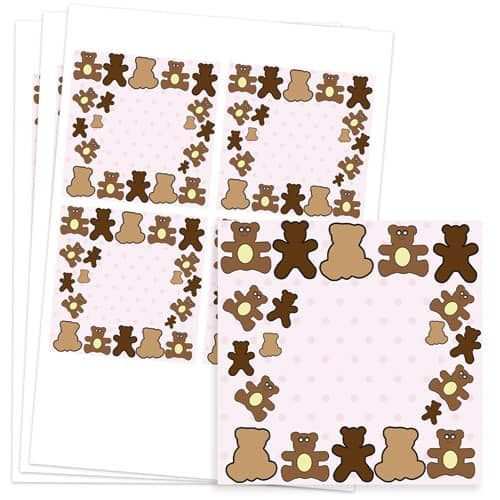 Dollies and Teddy Design 95mm Square Sticker sheet of 4