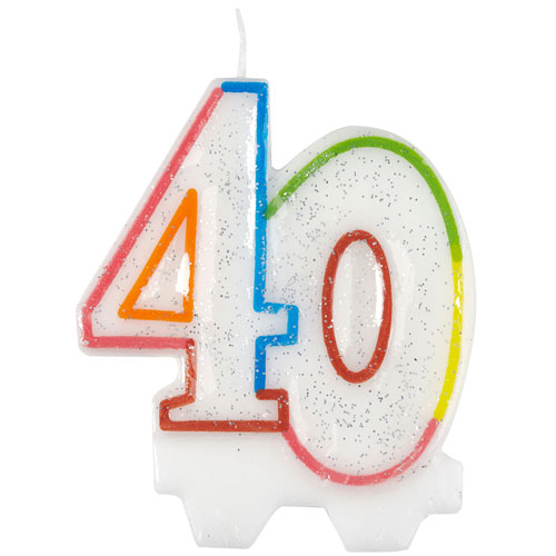 Glitter 40th Birthday Shape Candle