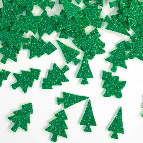 Glitter Christmas Tree Foam Stickers - Pack of 60
