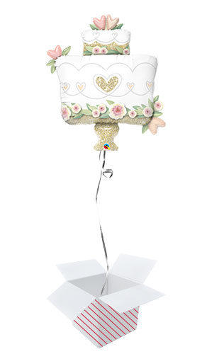 Glitter Gold Wedding Cake Helium Foil Giant Qualatex Balloon - Inflated Balloon in a Box Product Image