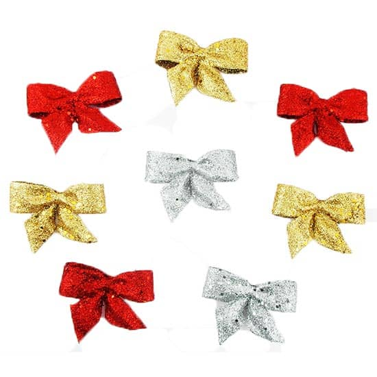 Glitter Hanging Bow Decorations - Pack of 3 Product Image
