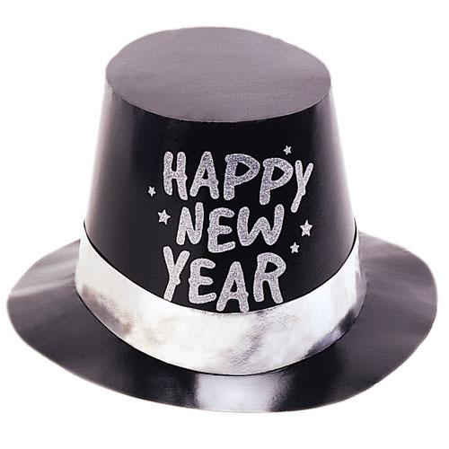 Glitter Happy New Year Black Top Hat Fancy Dress
