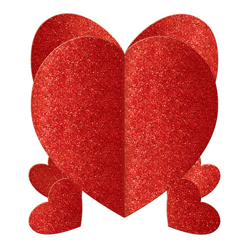 Glitter Hearts 3D Centrepieces Valentine's Decorations - Pack of 3