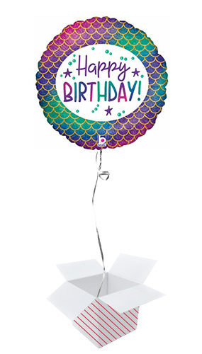 Glitter Mermaid Birthday Holographic Round Foil Helium Balloon - Inflated Balloon in a Box Product Image