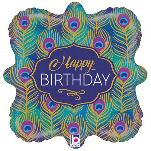 Glitter Peacock Happy Birthday Holographic Foil Helium Balloon 46cm / 18 in Product Image
