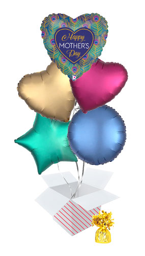 Glitter Peacock Happy Mother's Day Balloon Bouquet - 5 Inflated Balloons In A Box Product Image